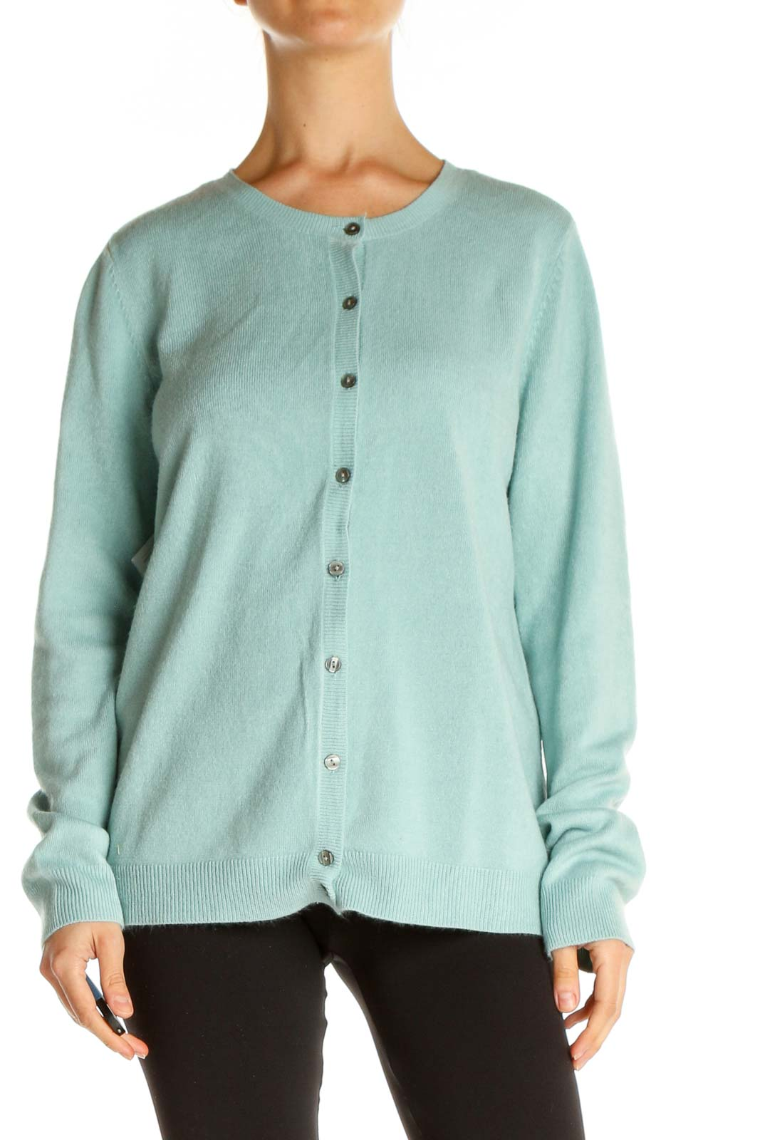 Blue Solid All Day Wear Sweater Front