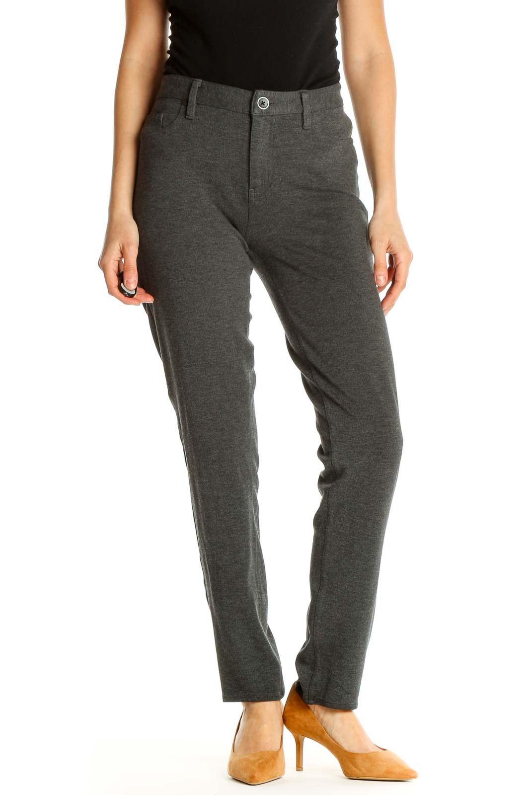 Gray Textured Casual Trousers Front