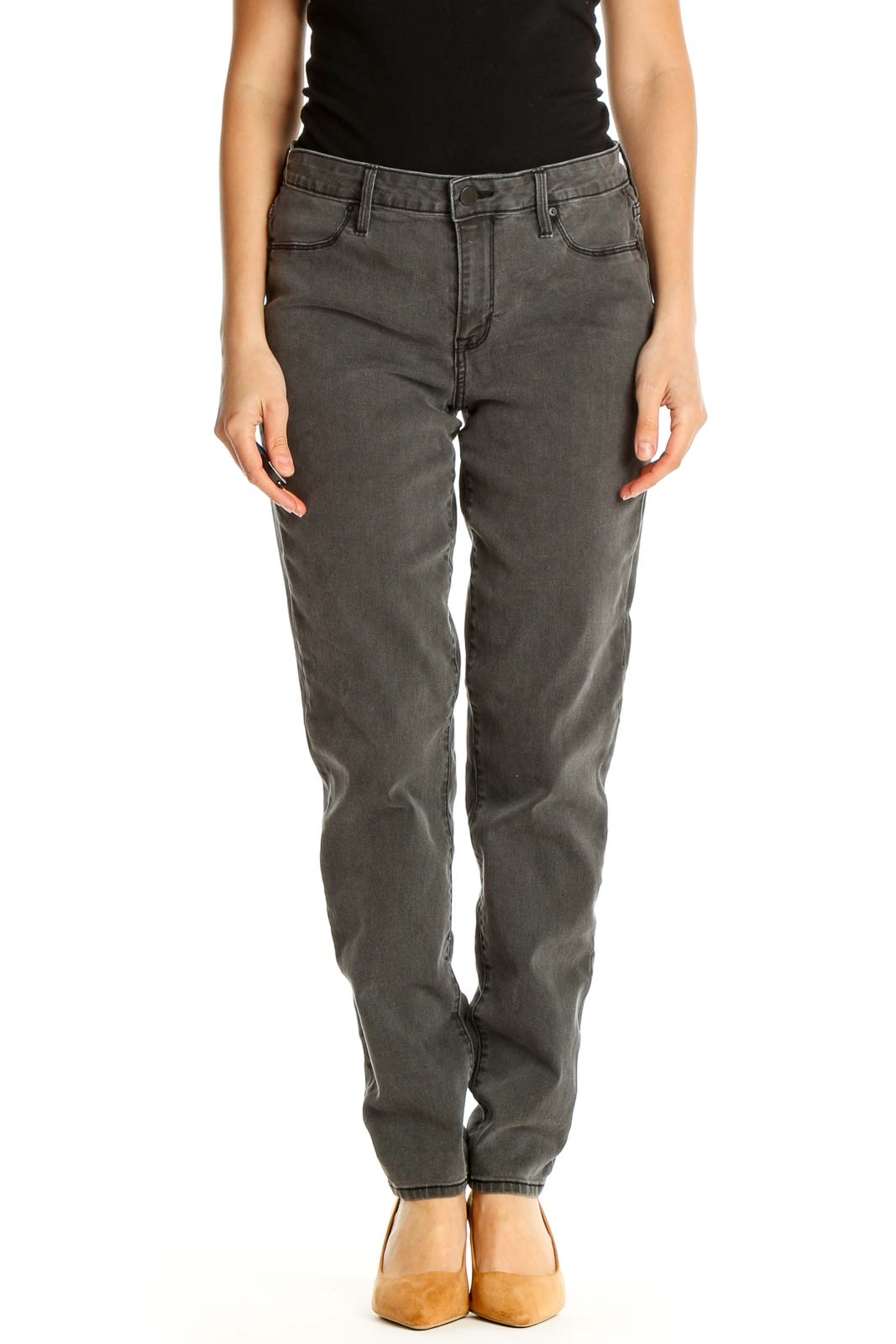 Gray Straight Leg Jeans Front
