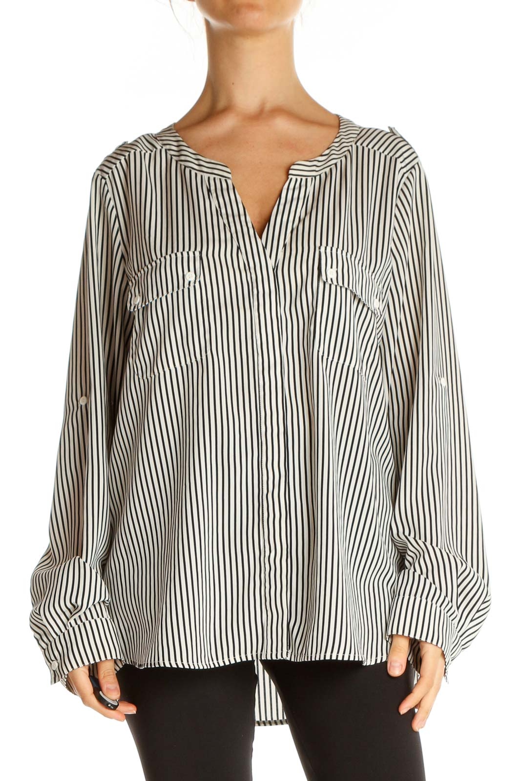 Gray Striped All Day Wear Blouse Front