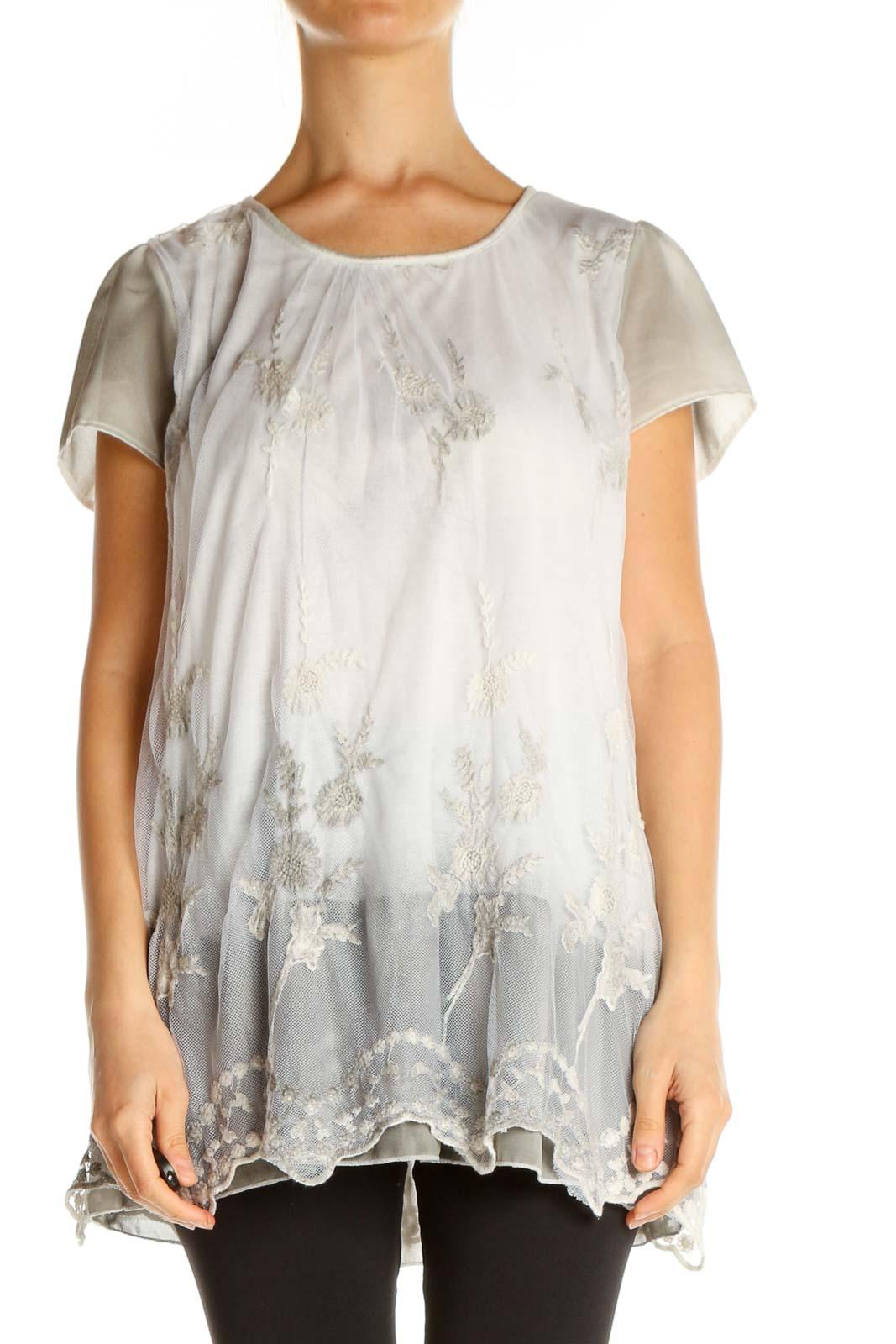 White Lace Bohemian Blouse Front