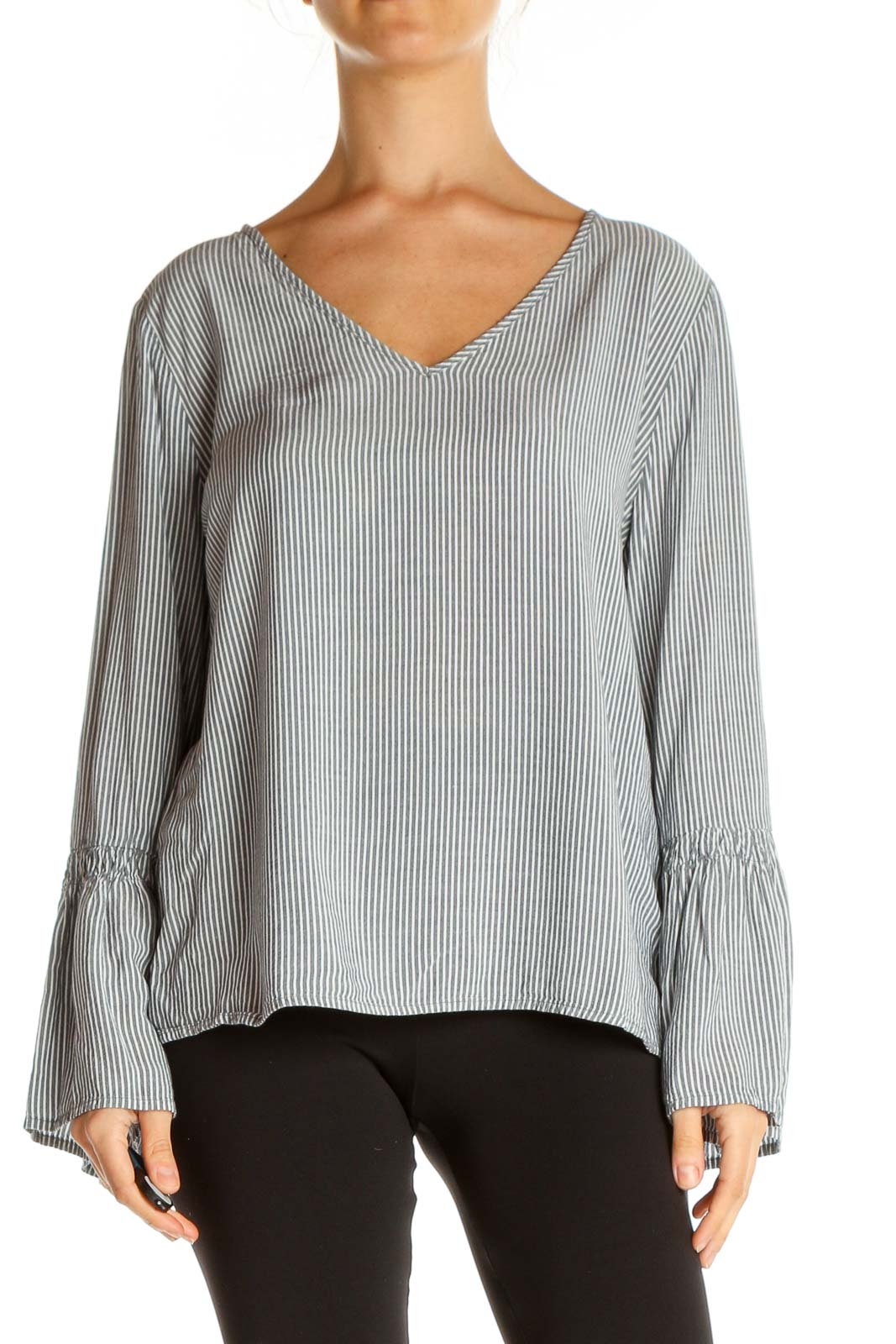 Gray Striped Brunch Blouse Front