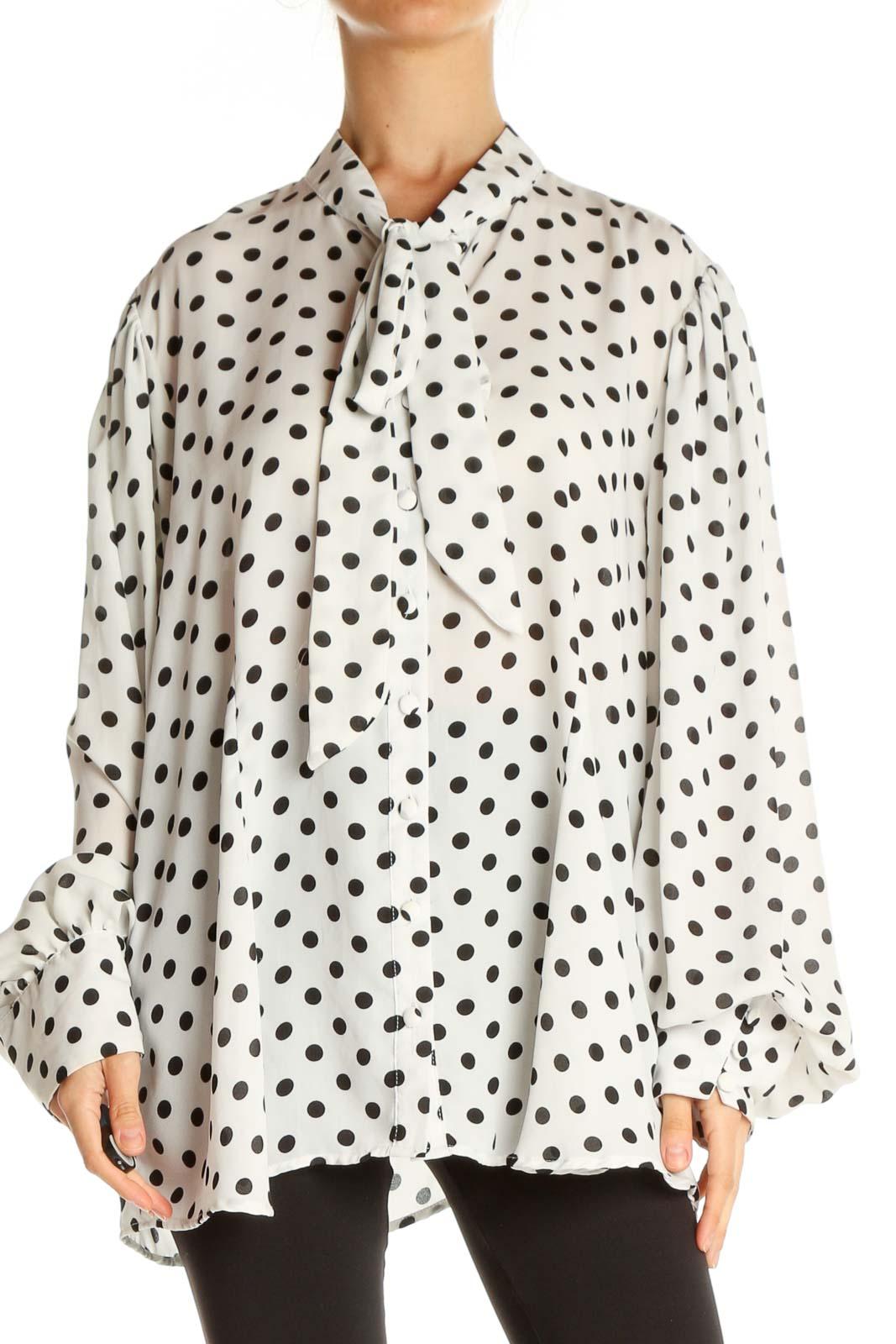 White Polka Dot Brunch Shirt Front