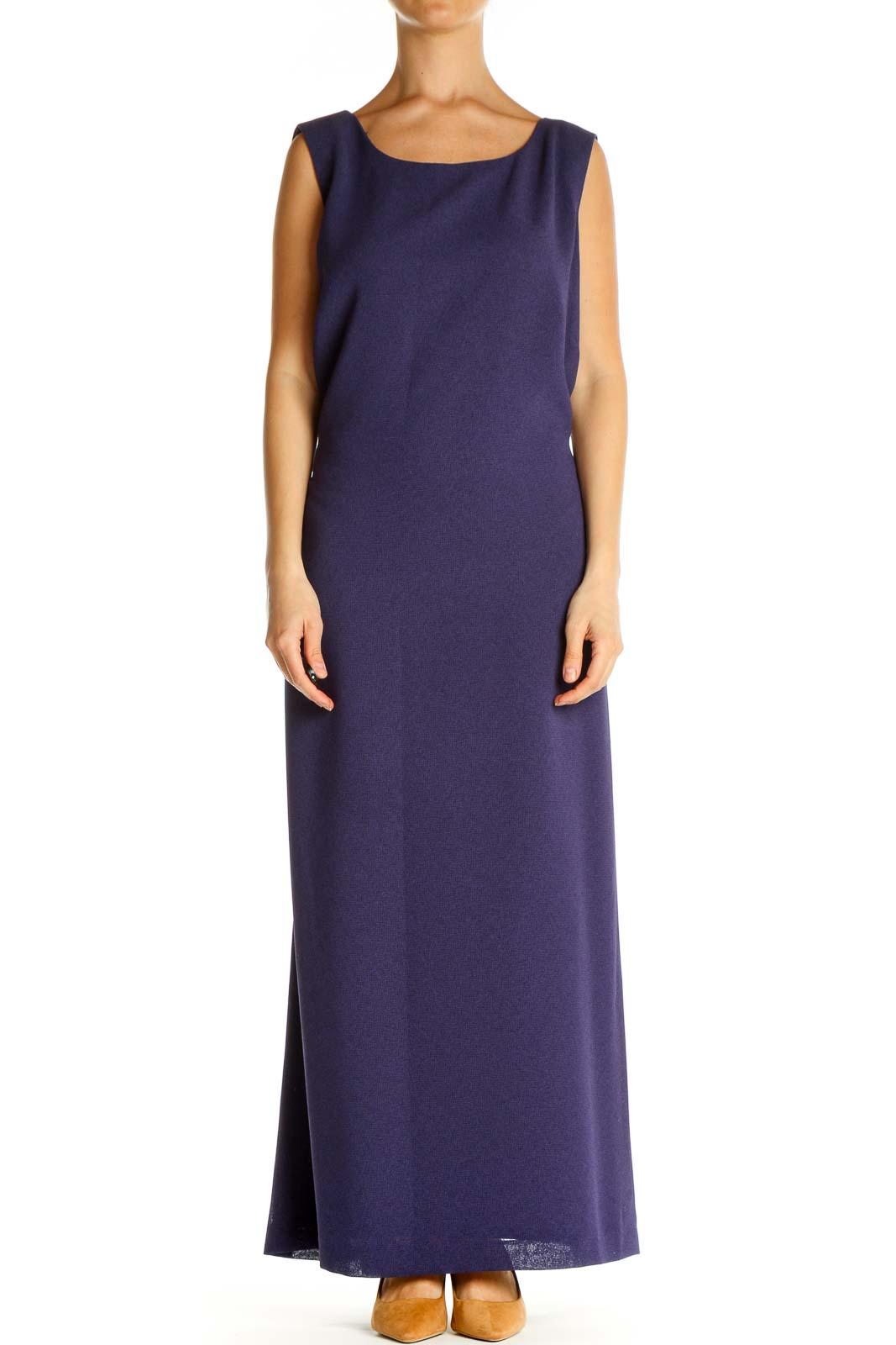 Purple Solid Cocktail Column Dress Front