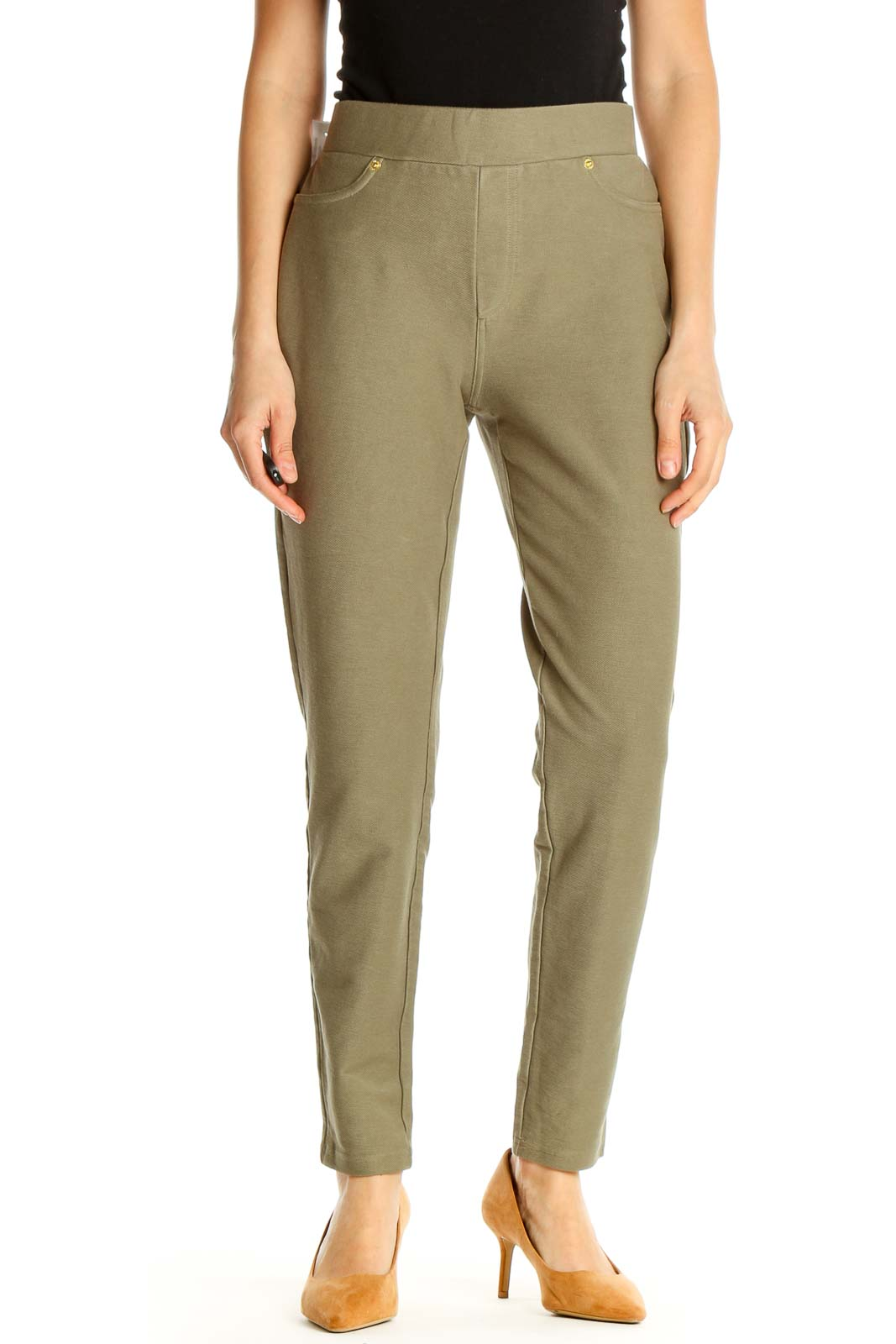 Green All Day Wear Trousers Front