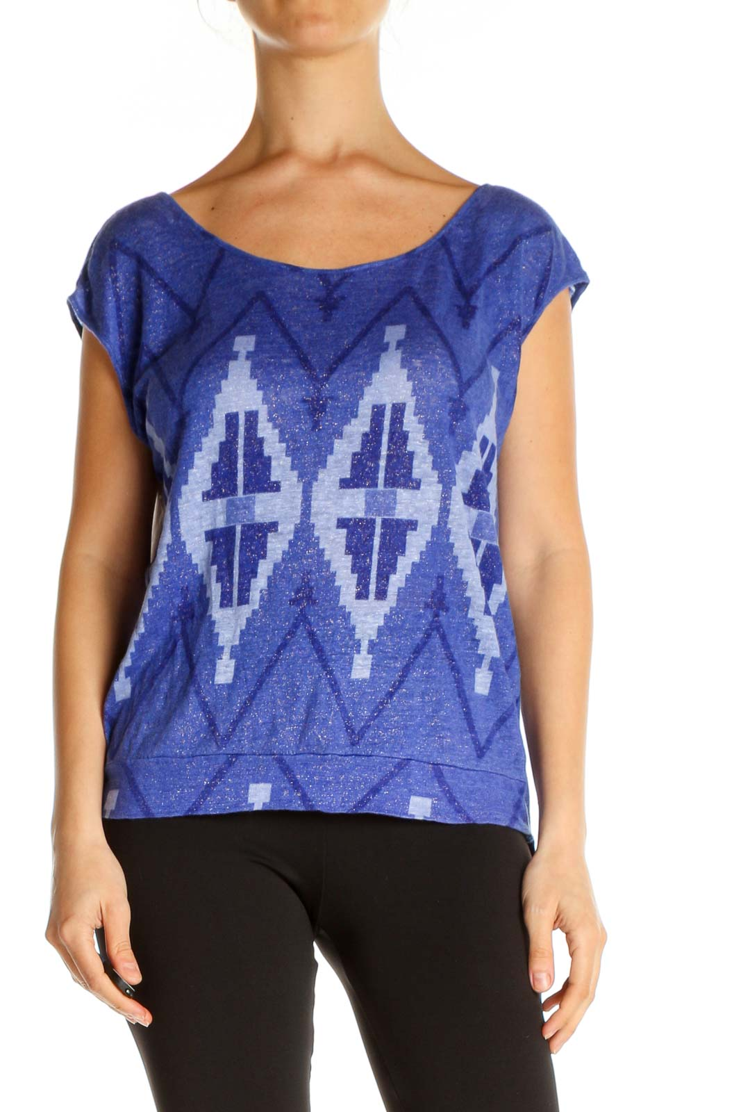 Blue Printed Bohemian T-Shirt Front