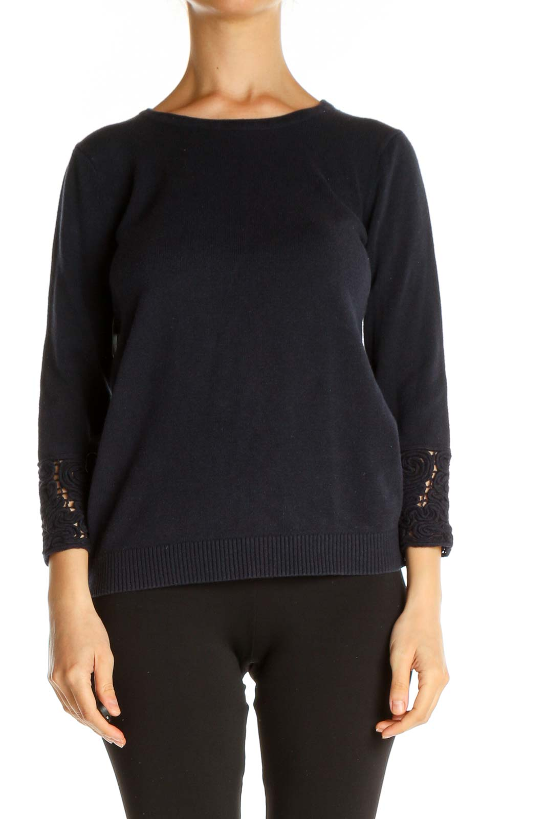 Blue Solid Casual Sweater Front