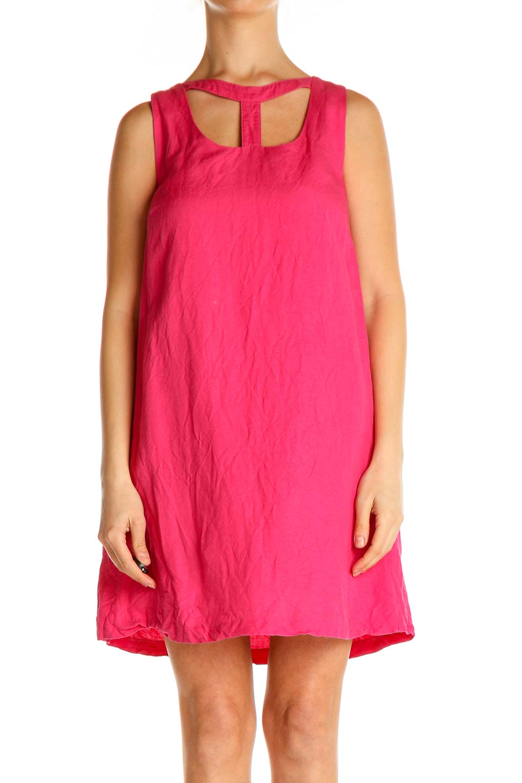 Pink Solid Holiday Shift Dress Front