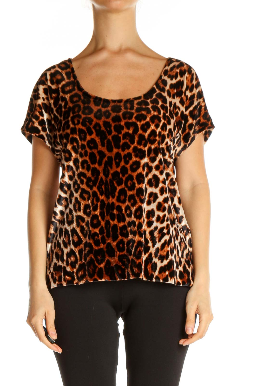 Black Animal Print All Day Wear T-Shirt Front