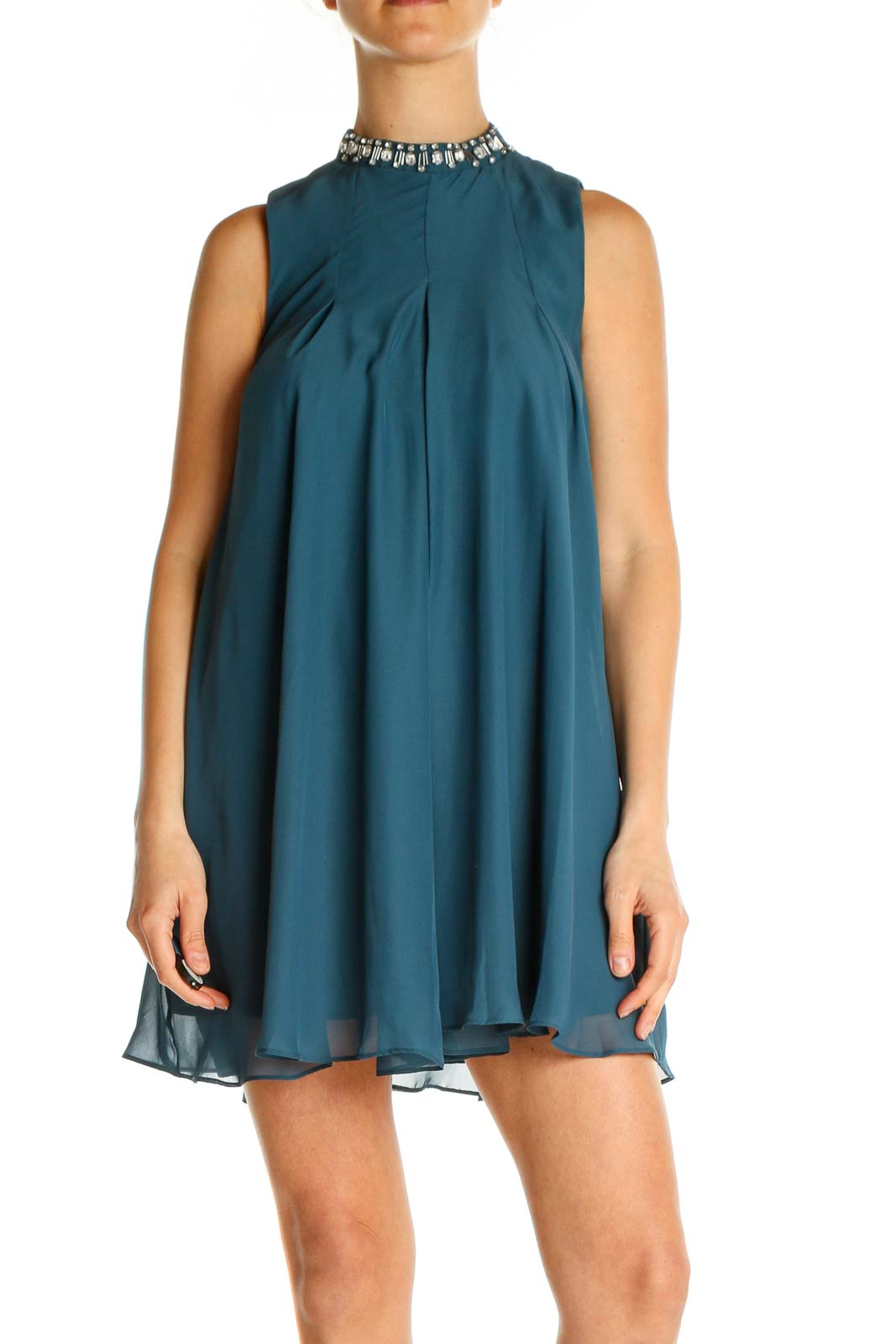 Blue Solid Holiday Fit & Flare Dress Front
