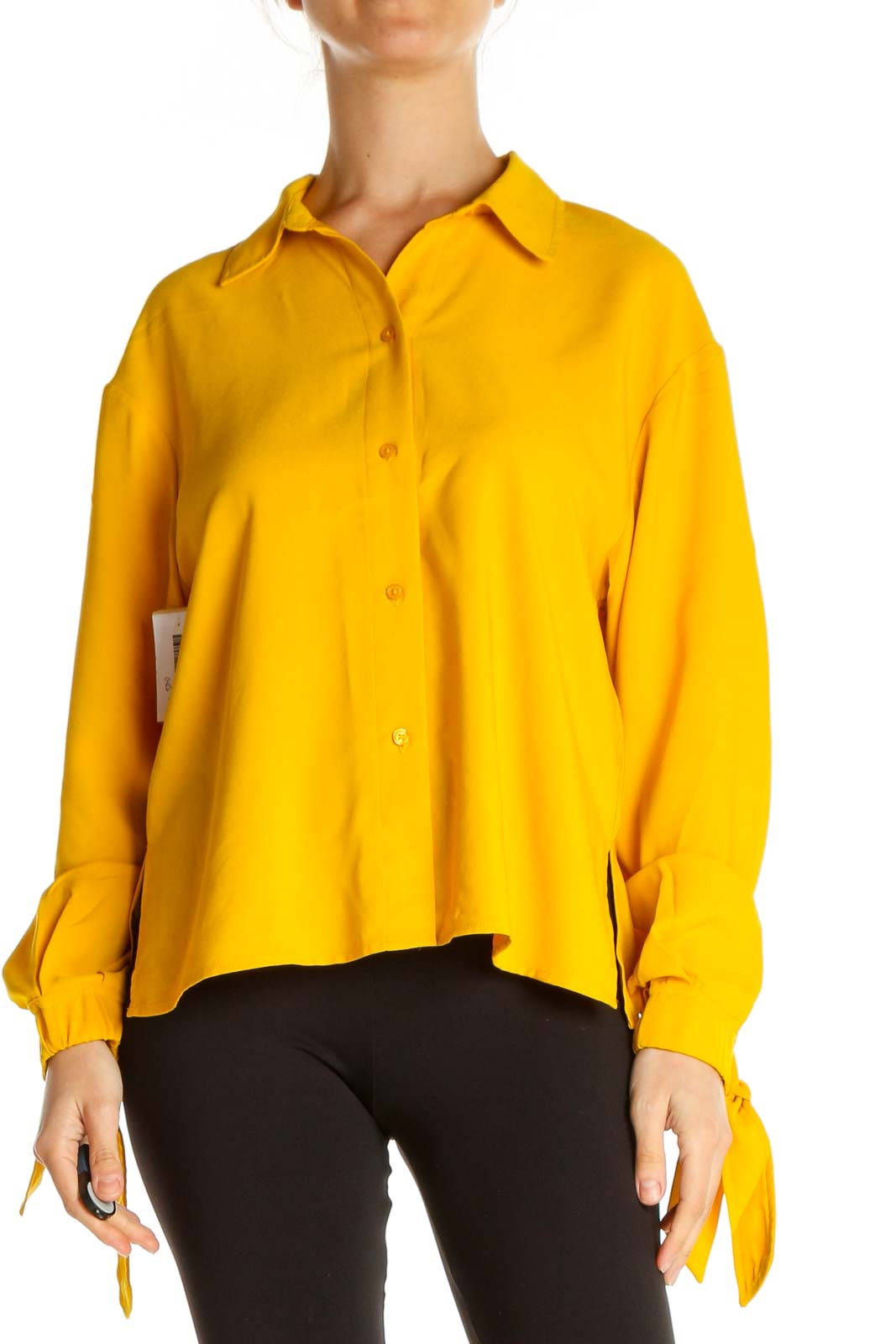 Orange Solid Casual Shirt Front