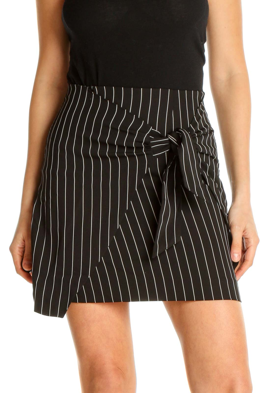 Black Striped Chic A-Line Skirt Front