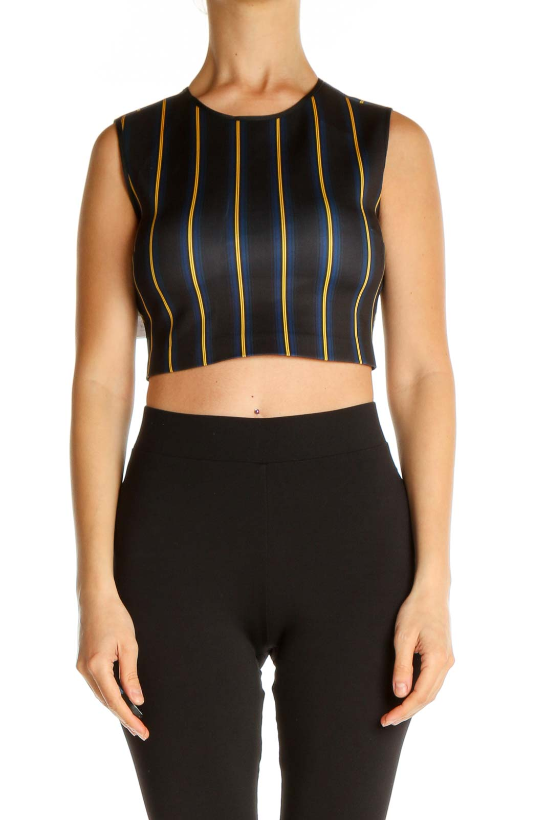 Black Striped Top Front