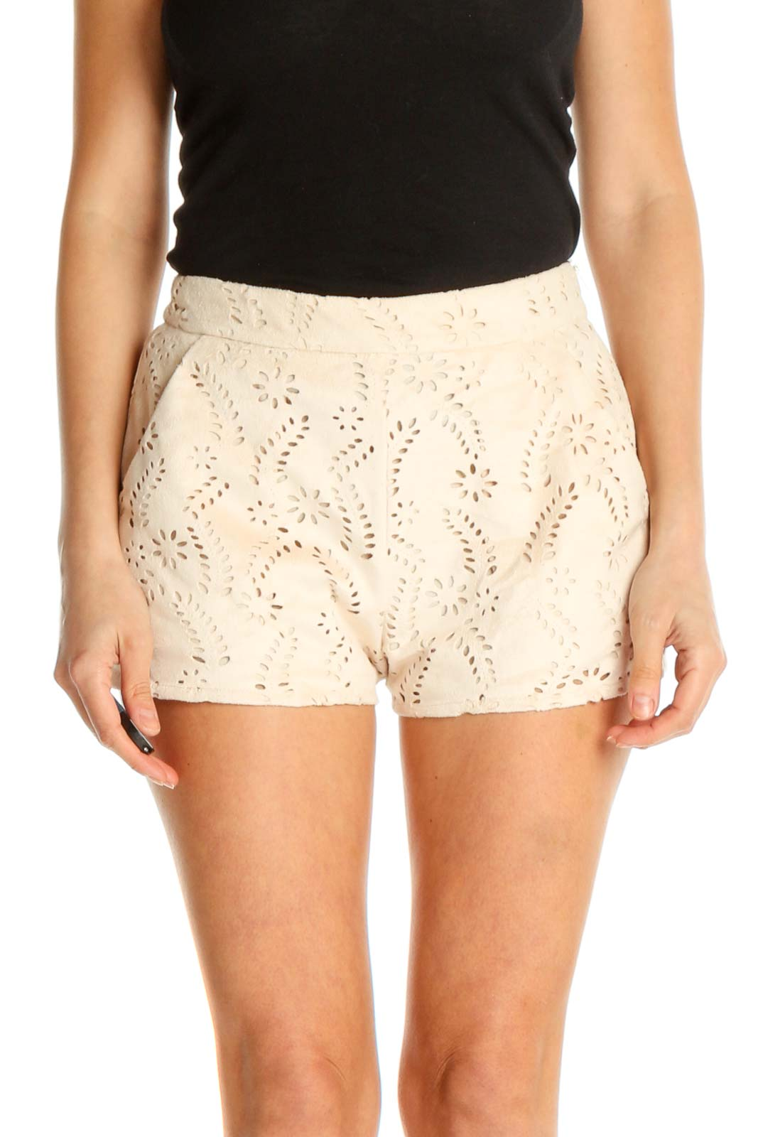 Beige Lace Holiday Shorts Front