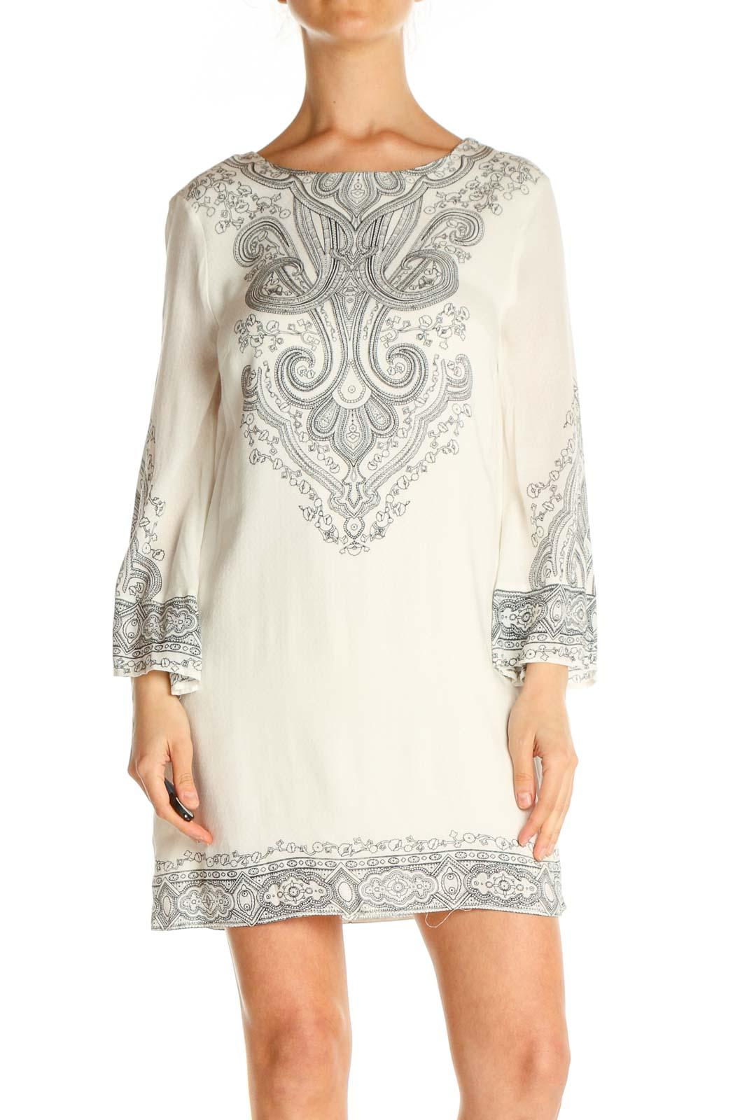 Beige Lace Day Sheath Dress Front