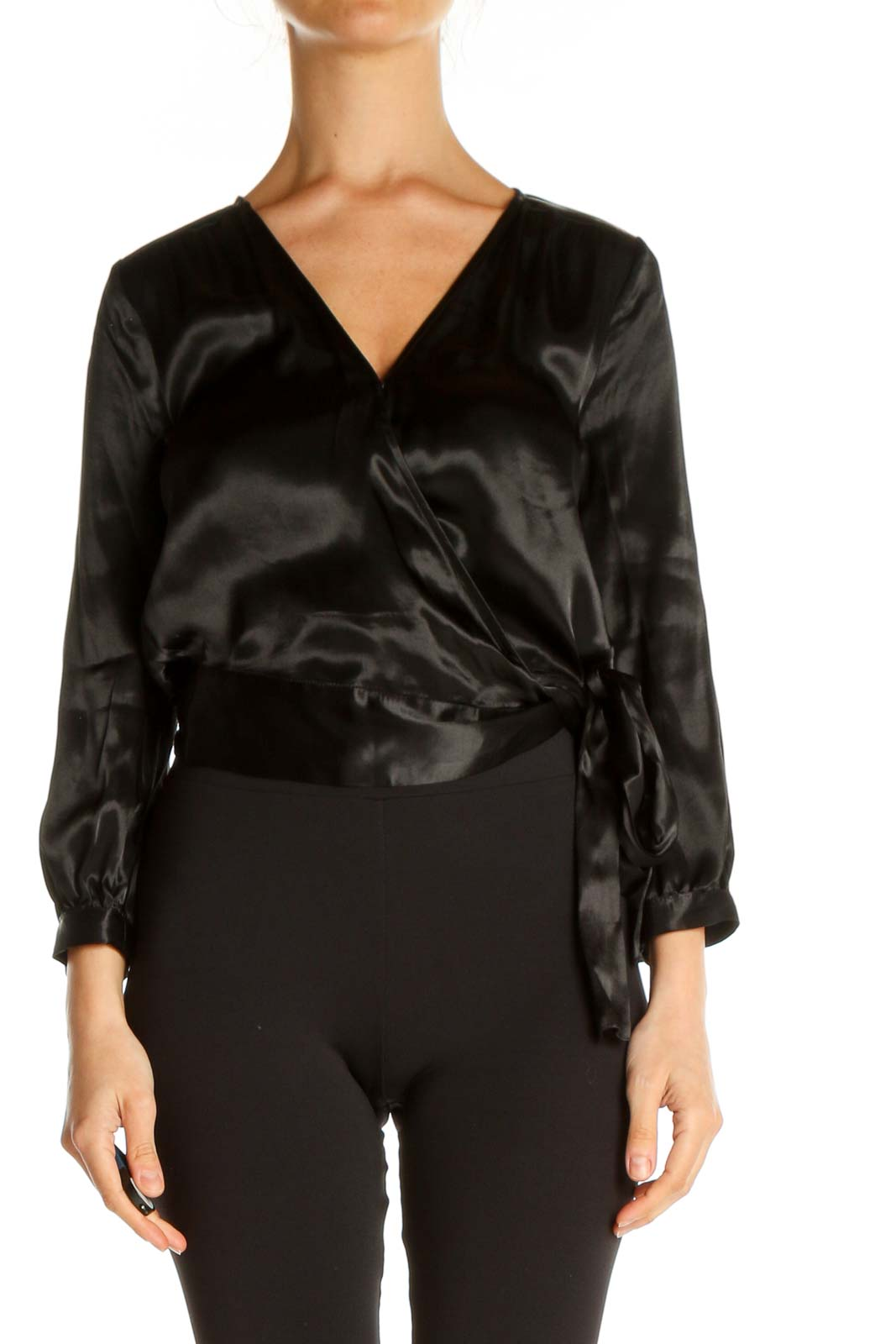 Black Solid Party Wear Blouse Front