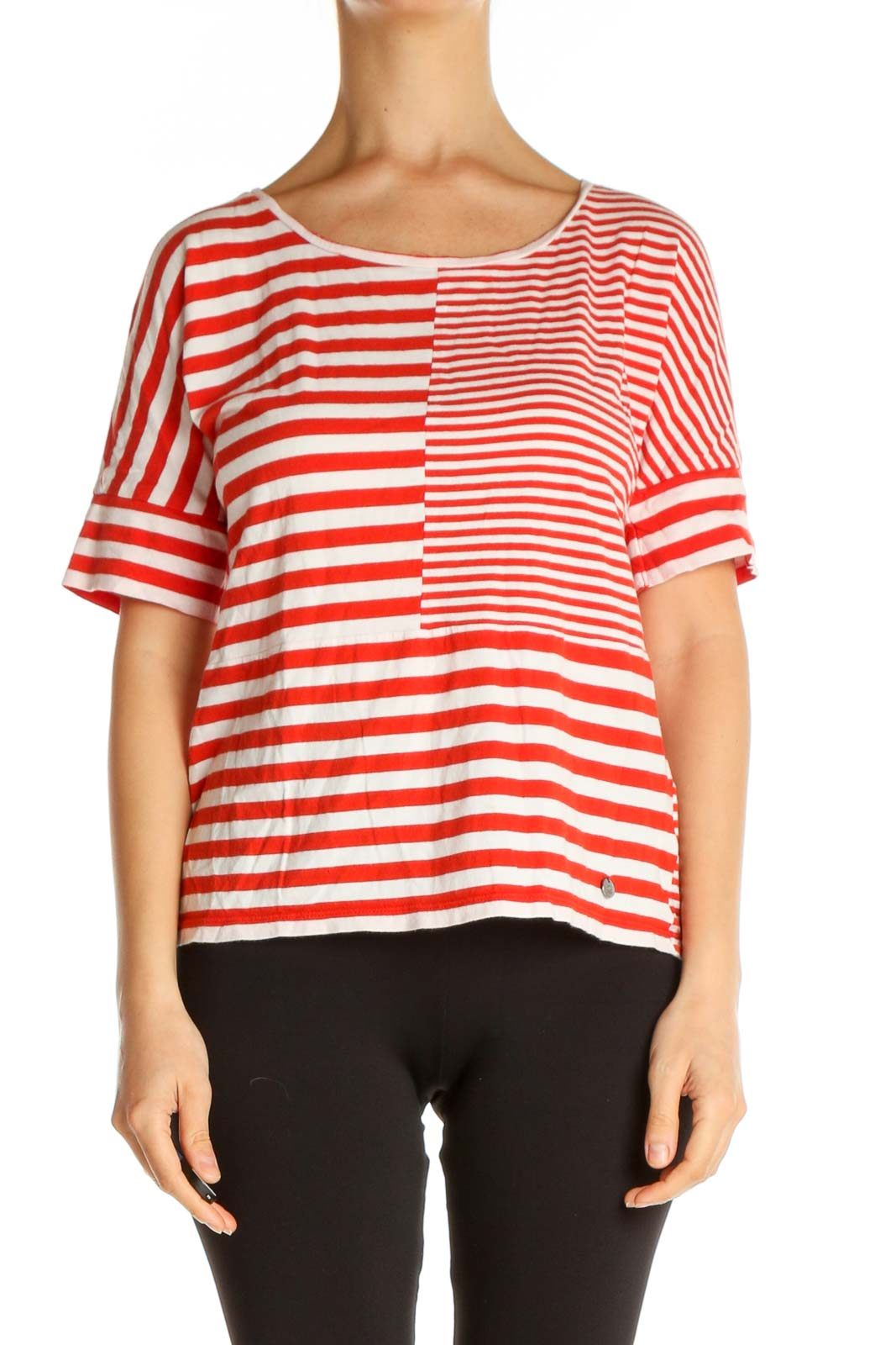 Red Striped Casual T-Shirt Front