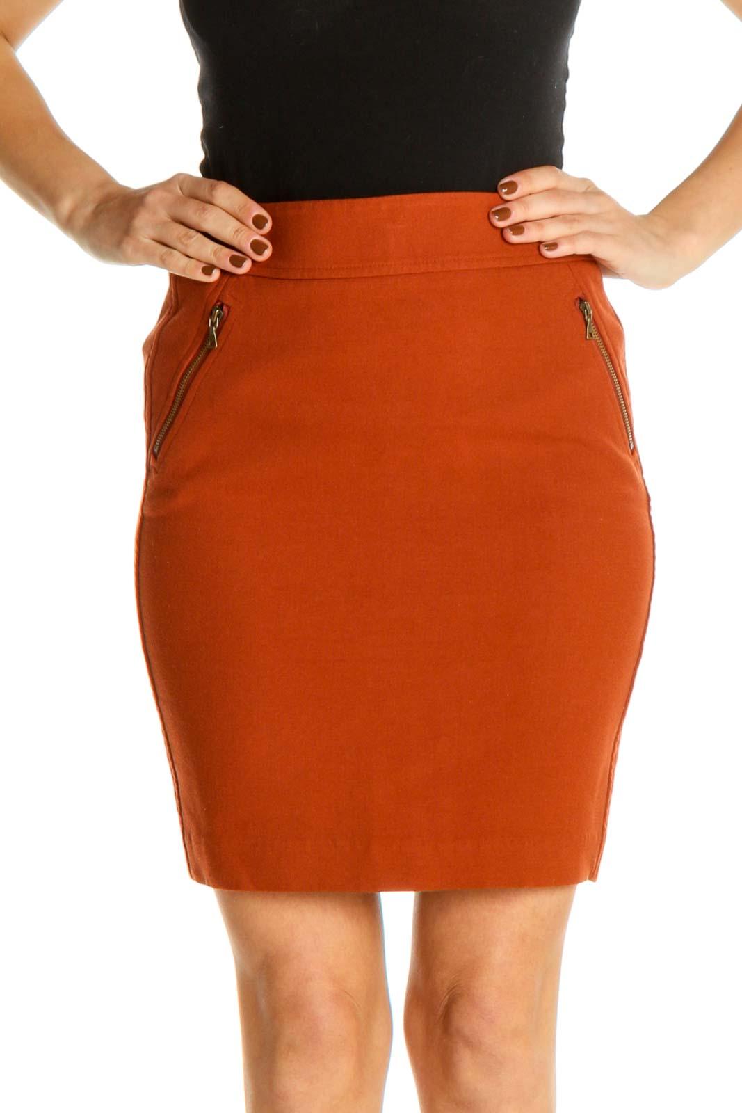 Orange Solid Brunch Pencil Skirt Front