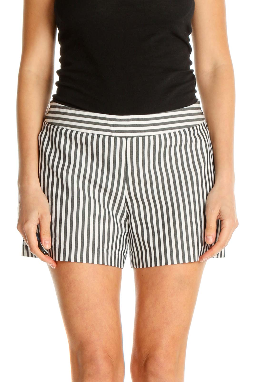 White Striped Casual Shorts Front