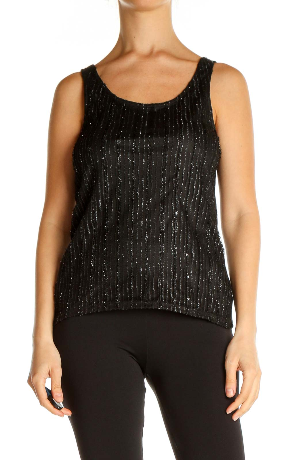 Black Textured Chic Tank Top Front