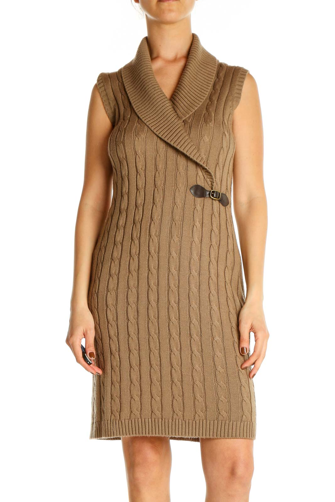 Brown Textured Day Sheath Dress Front