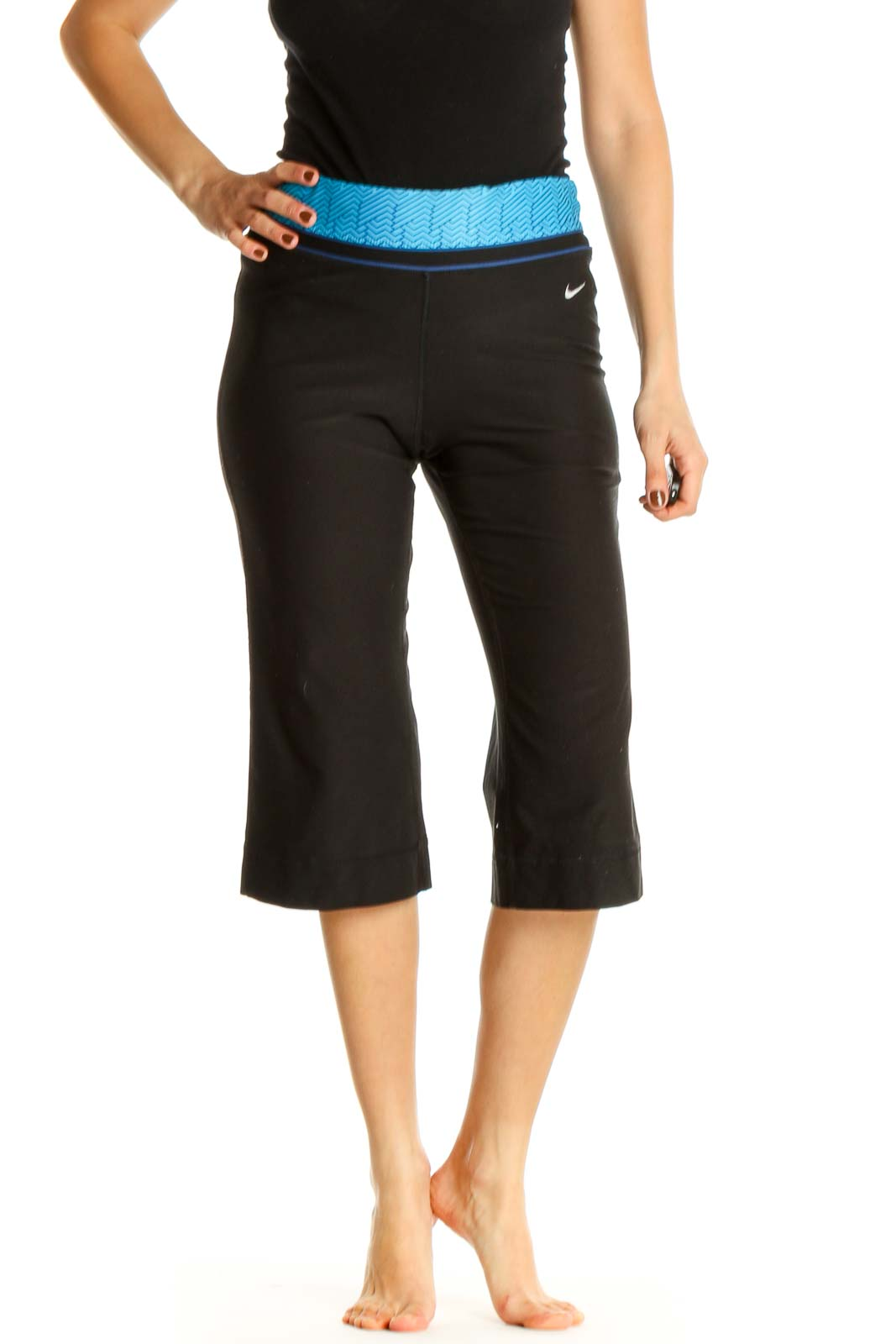 Black Solid All Day Wear Leggings Front