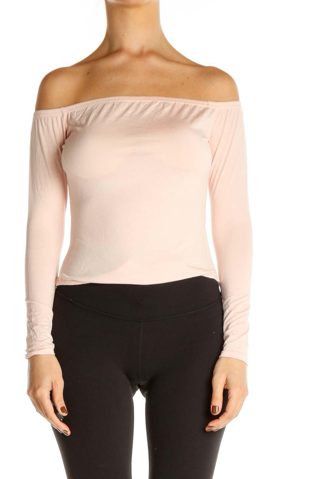 Beige Solid Chic Bodysuit Top Front