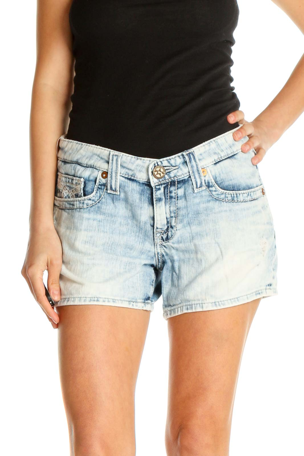 Blue Solid All Day Wear Shorts Front