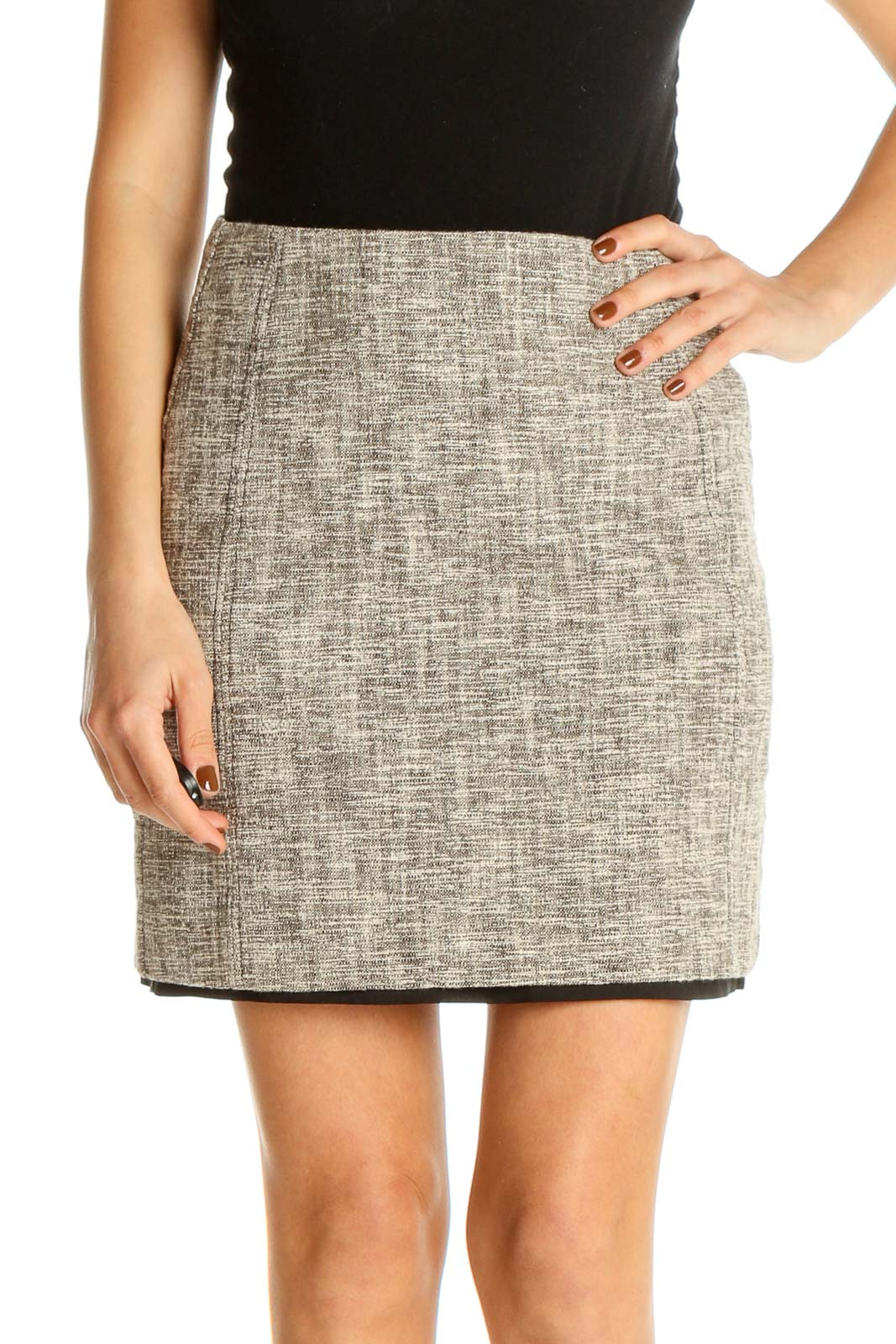 Beige Textured All Day Wear Pencil Skirt Front