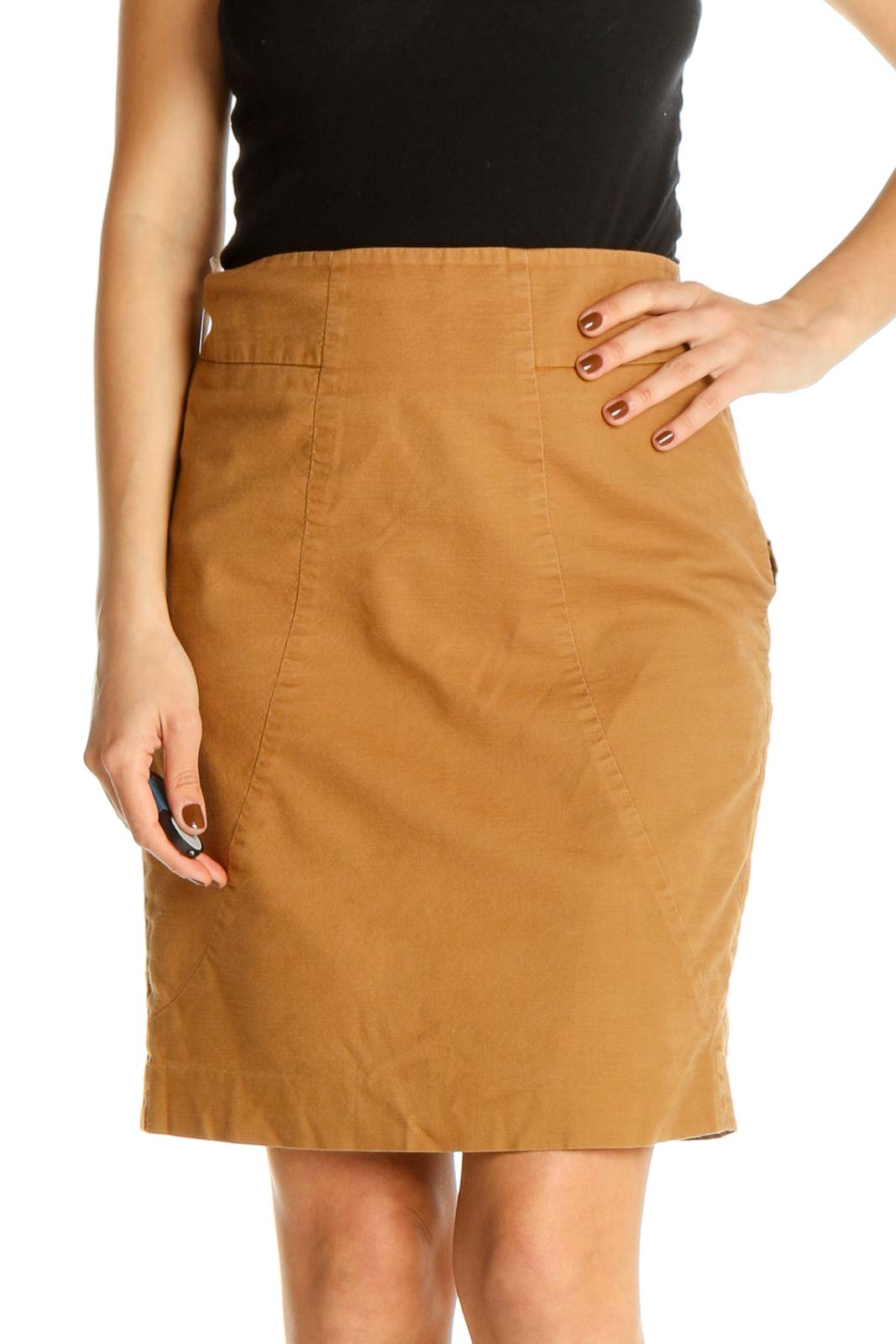 Brown Solid Party Pencil Skirt Front