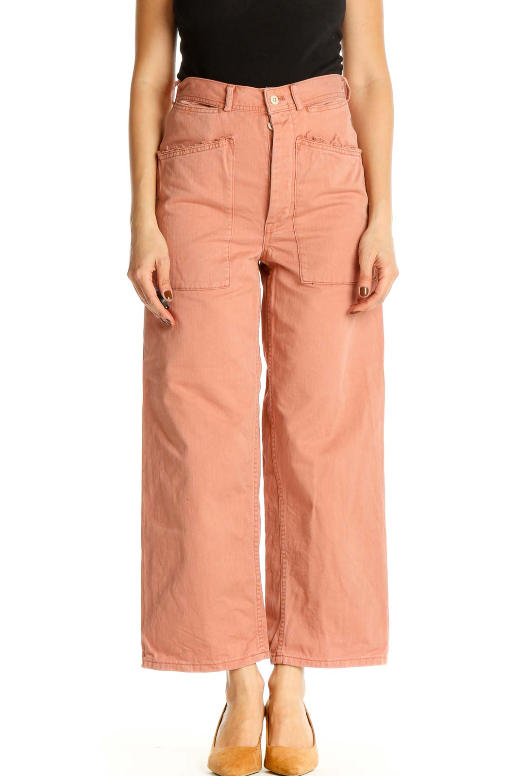 Pink Solid All Day Wear Trousers Front