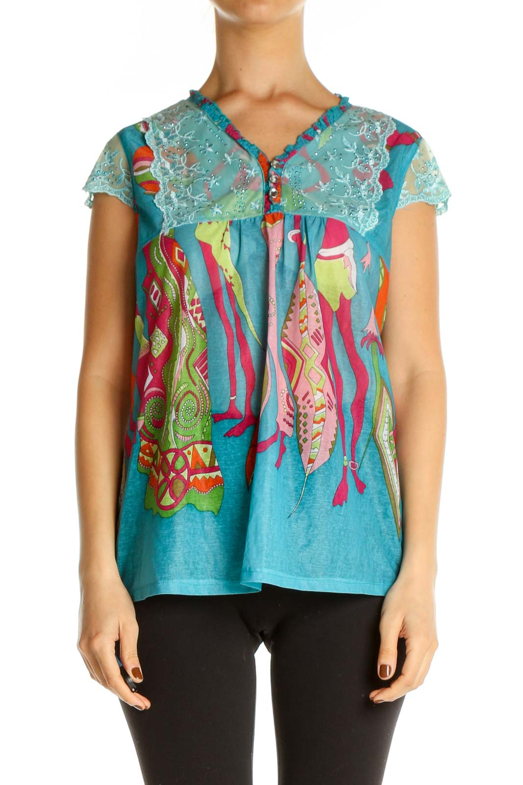 Blue Sequin All Day Wear T-Shirt Front