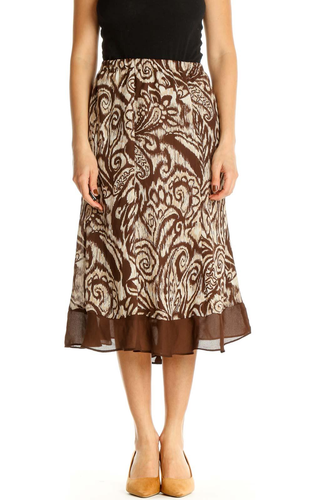 Brown Printed Brunch A-Line Skirt Front