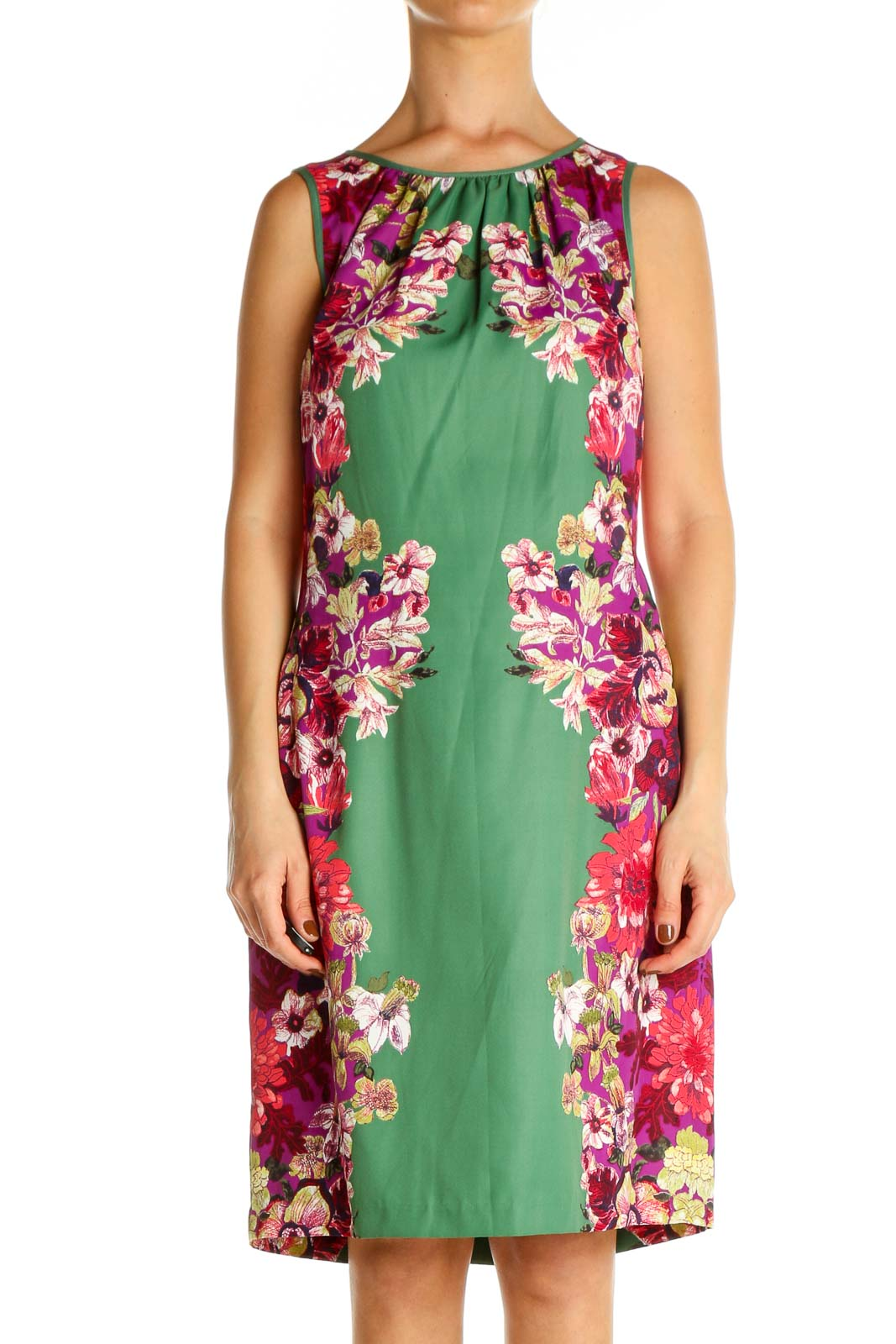 Green Floral Print Holiday Shift Dress Front