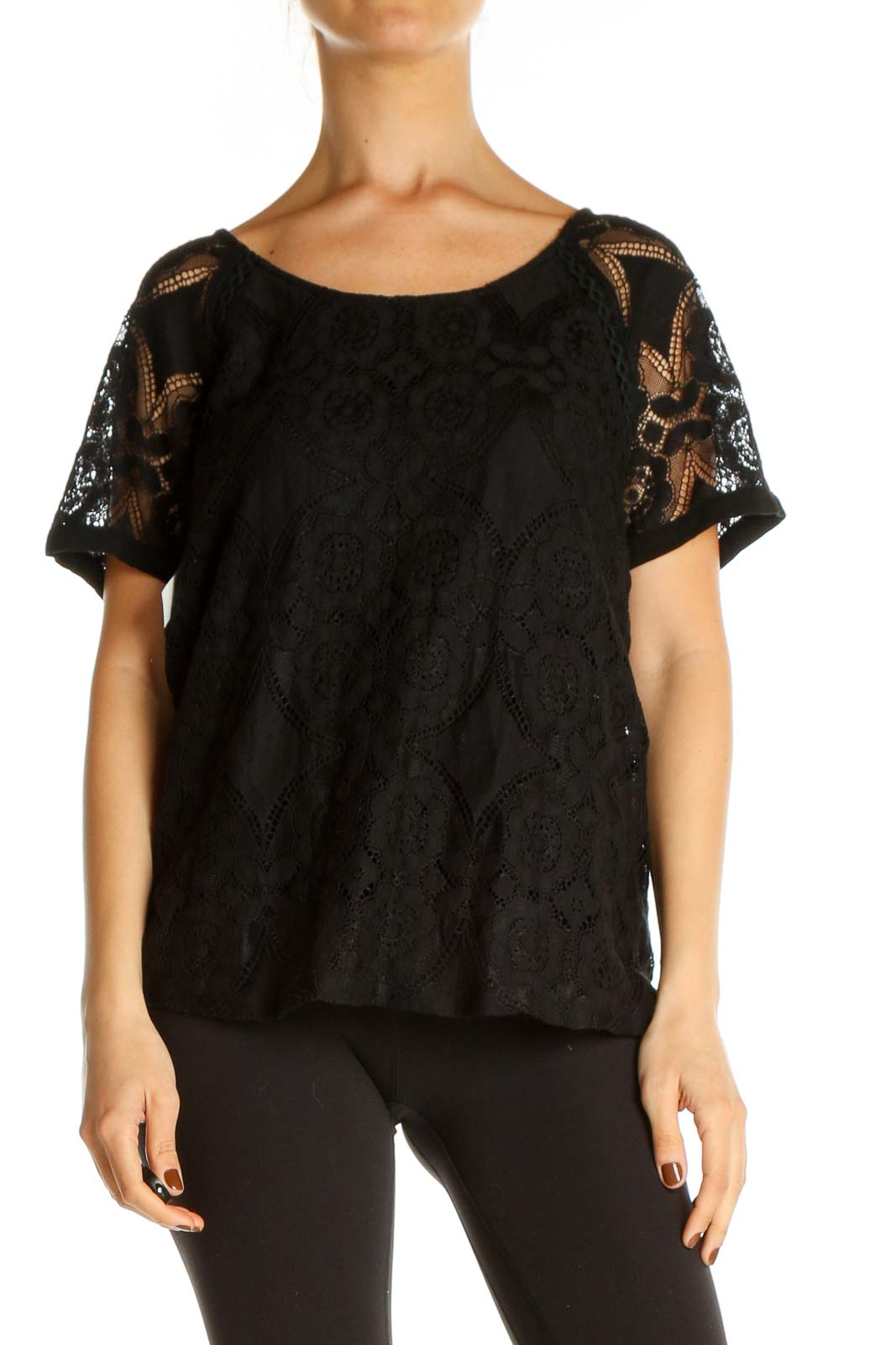 Black Lace All Day Wear Blouse Front