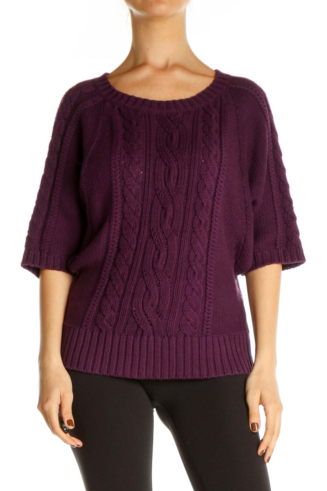 Purple Textured All Day Wear Sweater Front