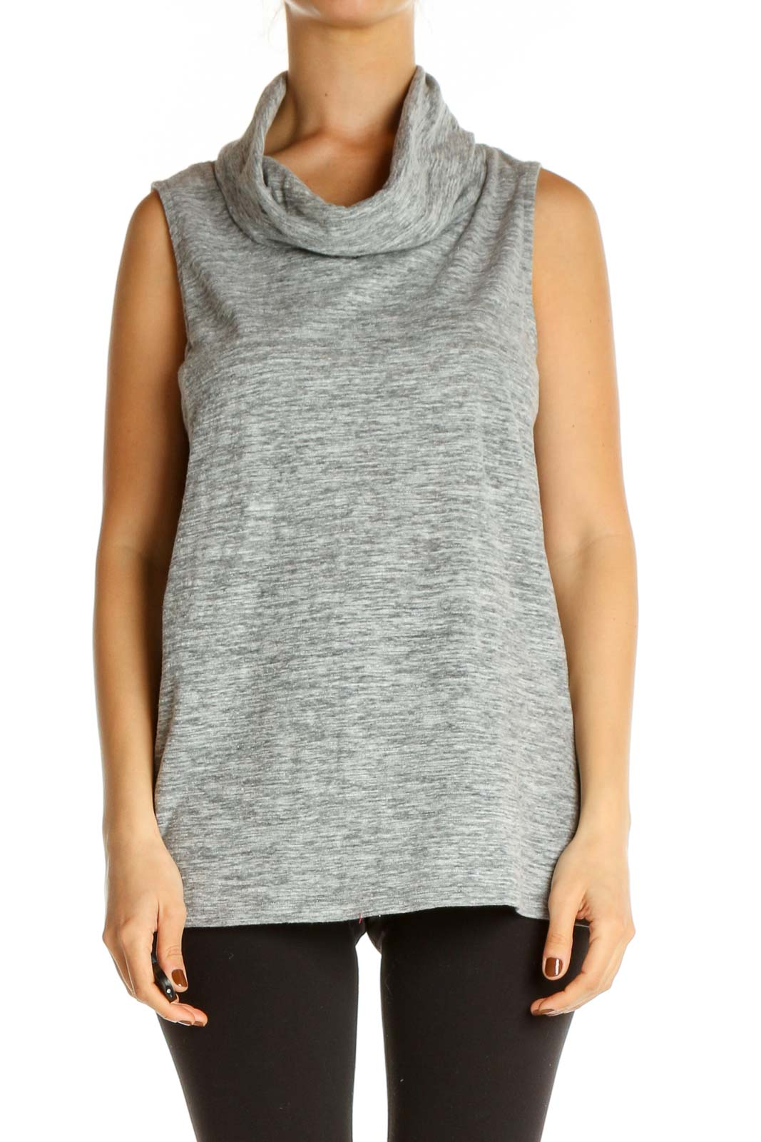 Gray Textured Casual Tank Top Front