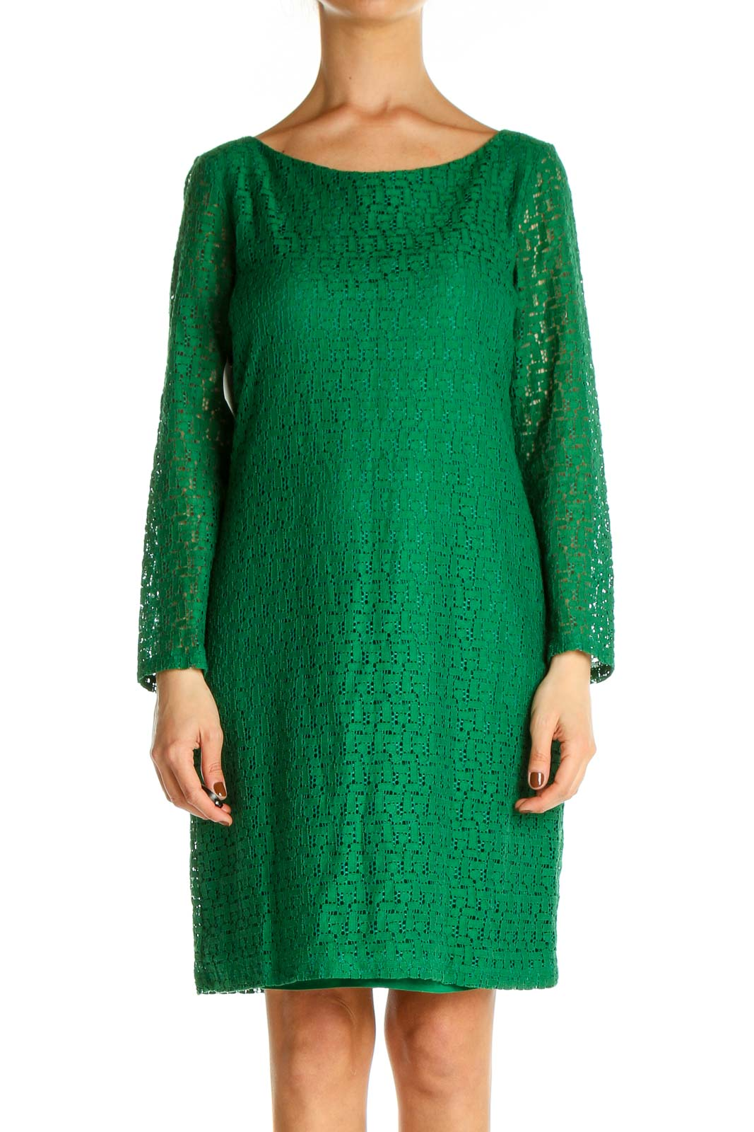 Green Textured Day Shift Dress Front