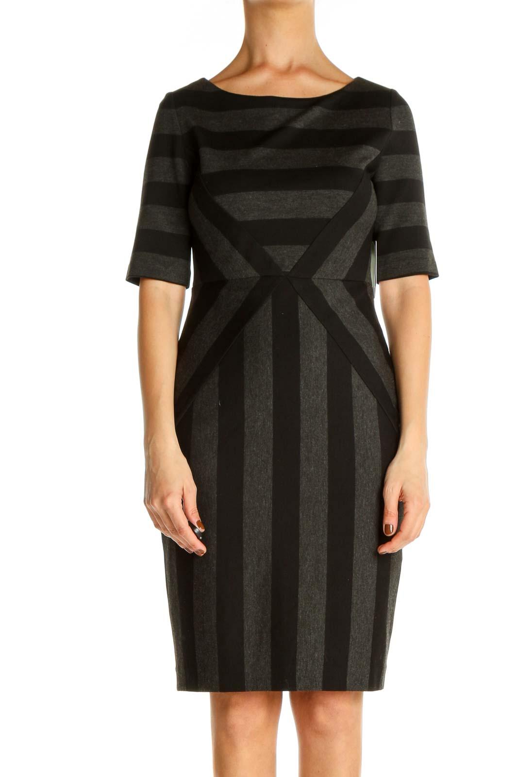 Gray Striped Work Sheath Dress Front