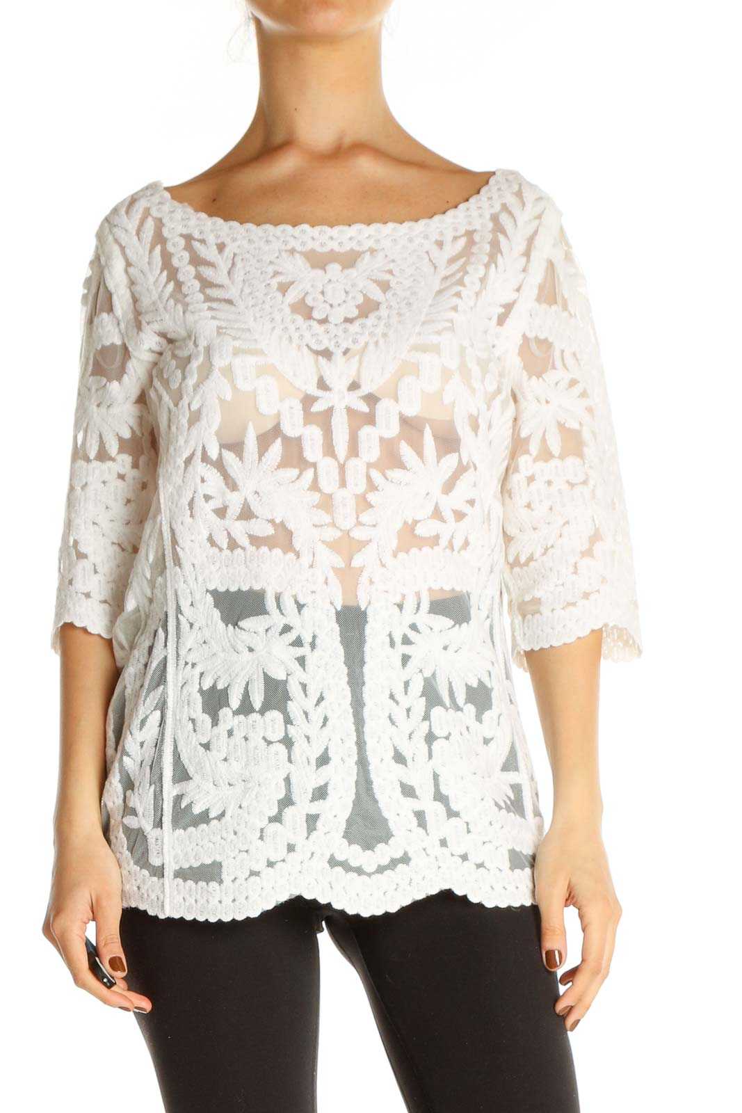 White Lace Casual Blouse Front