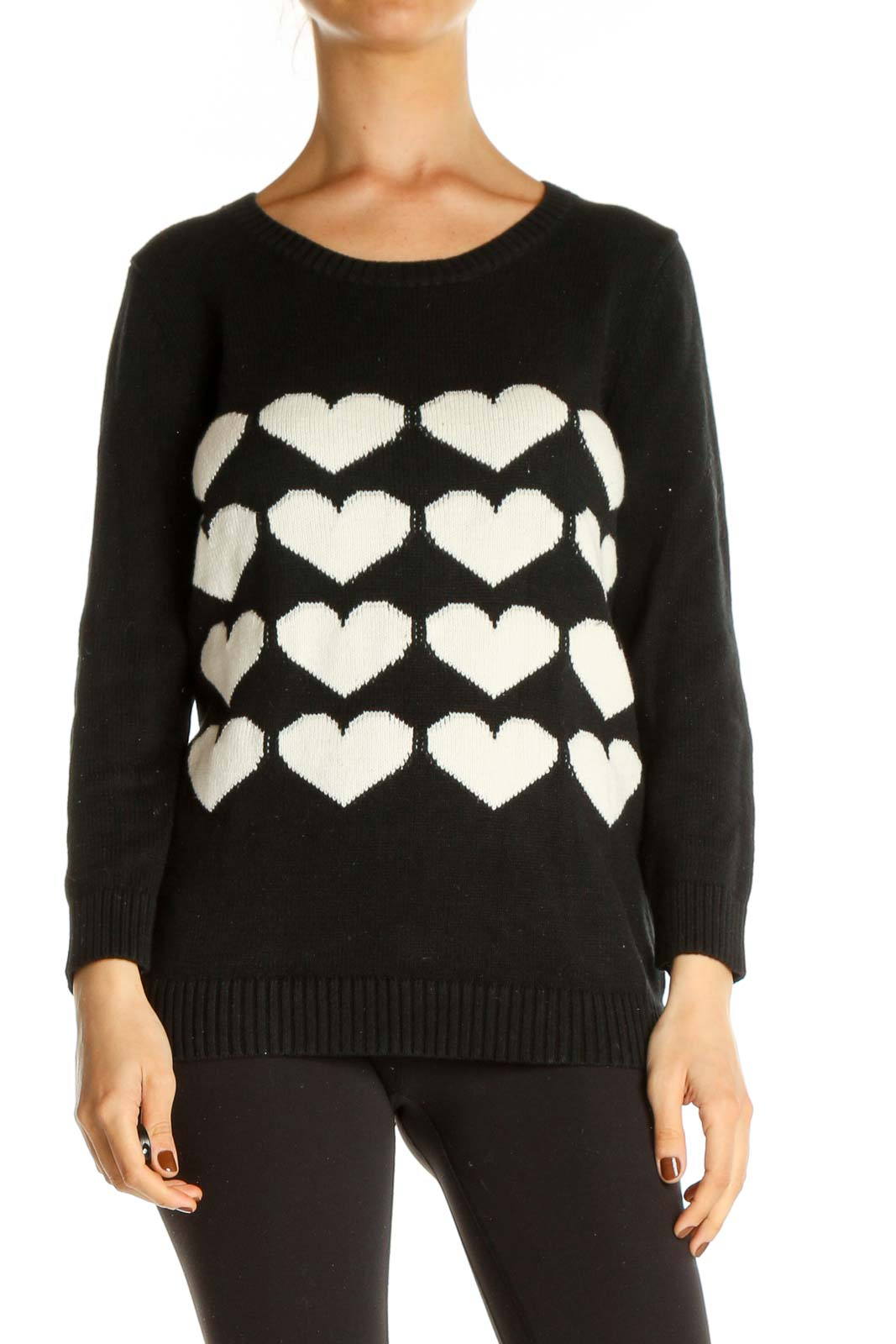 White Geometric Print All Day Wear Sweater Front
