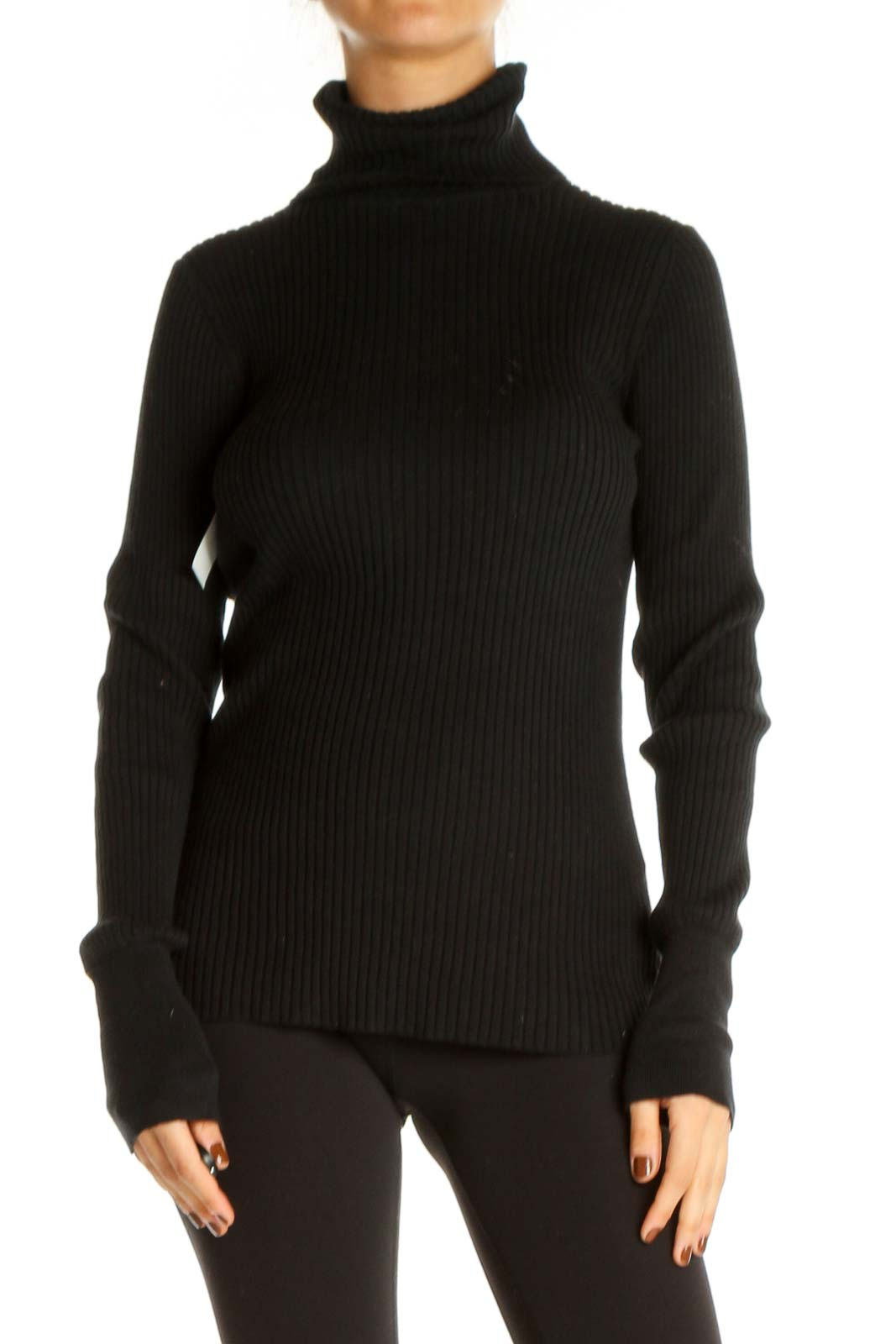 Black Solid Classic Sweater Front