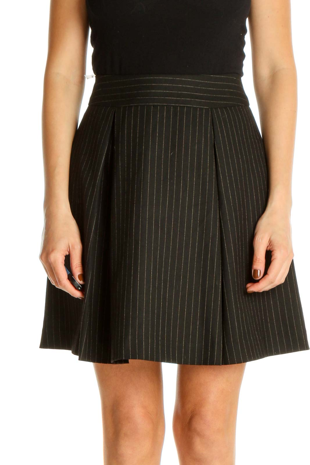 Black Striped Party Pleated Skirt Front