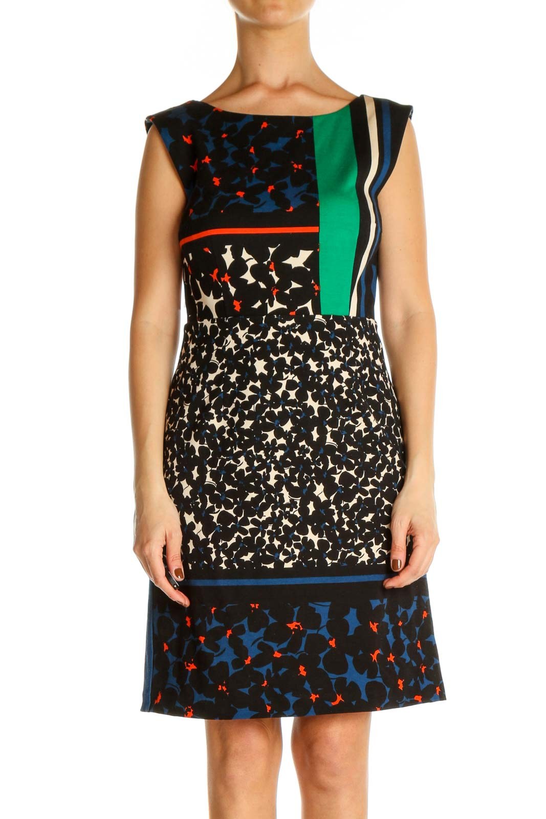 Black Colorblock Work Sheath Dress Front