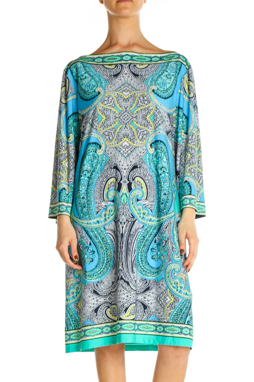 Yellow Paisley Holiday Shift Dress Front