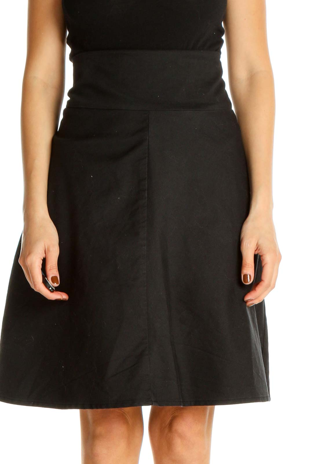 Black Solid Retro A-Line Skirt Front