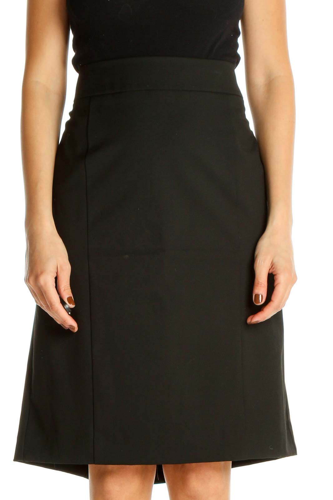 Black Solid Classic A-Line Skirt Front