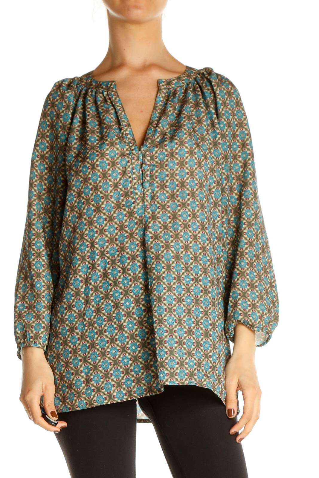 Brown Printed All Day Wear Blouse Front