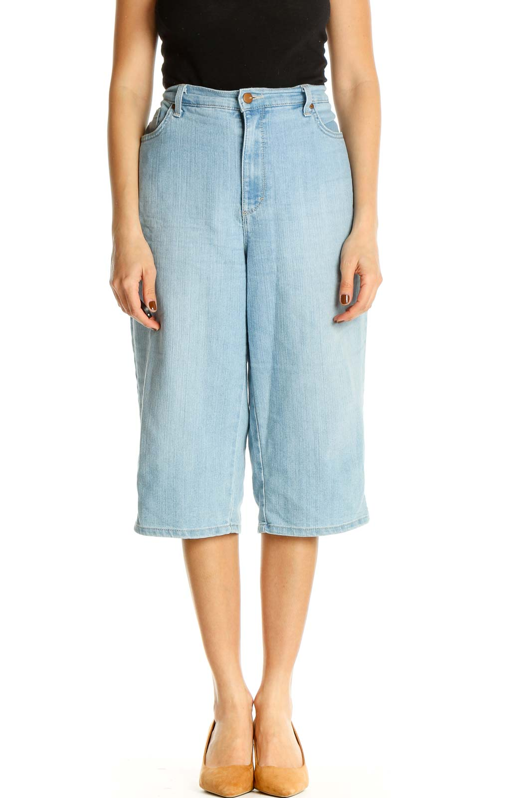 Blue Textured All Day Wear Shorts Front