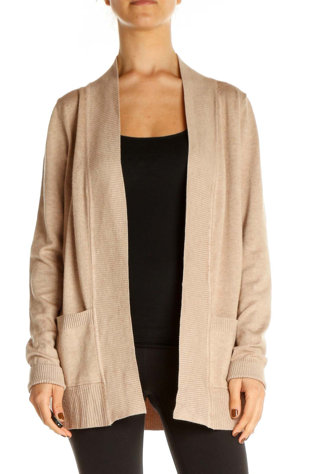 Beige Solid Cardigan Front